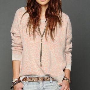 Free People Cheetah Print pink Pullover